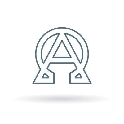 Posters Résumé icône alpha et oméga. Signe de début et de fin. Symbole grec alpha et oméga. Logo alpha et oméga. Thin ligne icône sur fond blanc. Illustration vectorielle.