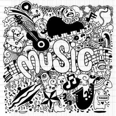 Posters Résumé, musique, fond, main, dessin, Doodle, vecteur, illustratio