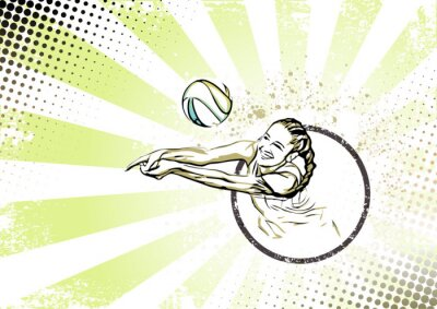 Posters rétro affiche de volley-ball de plage fond