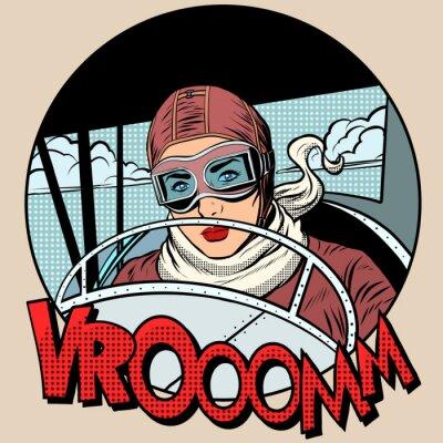 Posters Retro, aviateur, femme, avion