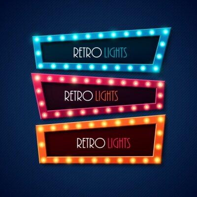 Posters Rétro bannière avec des lumières brillantes. Illustration vectorielle.