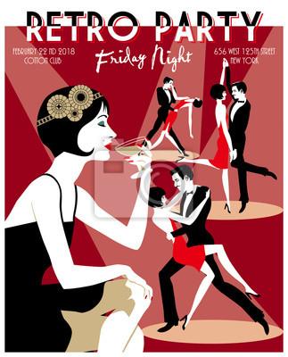 Rétro carte d'invitation de fête. Illustration vectorielle dessinée à la main. Style Art Déco