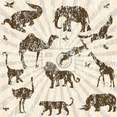 Rétro fond grunge avec silhouettes d'animaux