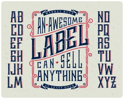 Posters Retro font set with ornament frame for making label design