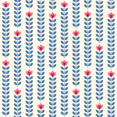 Posters Rétro motif floral, fleurs sans soudure géométriques