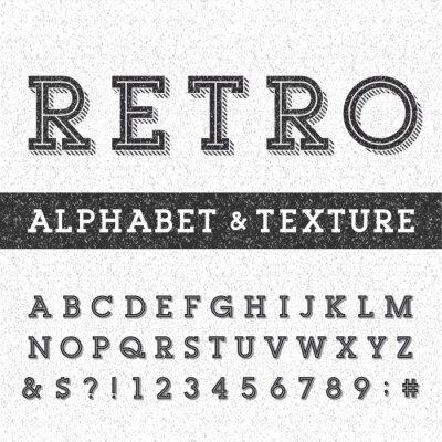 Posters Rétro police de vecteur alphabet avec détresse superposition texture. Serif lettres type, chiffres et symboles sur un fond rayé détresse. Vectoriel typographie pour les étiquettes, titres, affiches, e