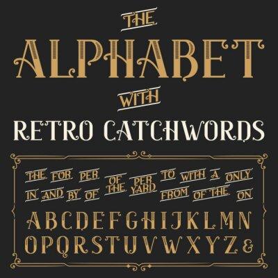 Posters Rétro police vecteur d'alphabet avec des slogans. Des lettres et des mots d'ordre de la, pour, une, de, avec, par, etc. Stock Vector typographie pour les étiquettes, titres, affiches, etc. Ornement