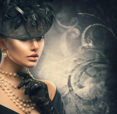 Posters Rétro portrait de femme. Style, girl, porter, vieux, façonné, chapeau