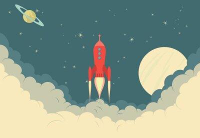 Posters Retro Rocket Spaceship