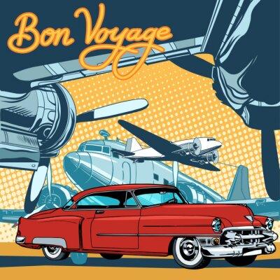 Posters Retro, rouges, voiture, piste, pop art, retro, style