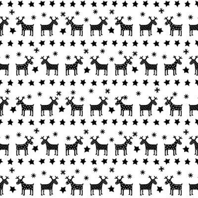 Posters Rétro seamless Noël noir et blanc - variait de Noël rennes, étoiles et flocons de neige. Bonne fond du Nouvel An. Vector design pour des vacances d'hiver sur fond blanc.