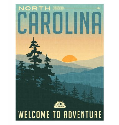 Posters Retro style travel poster or sticker. United States, North Carolina, Great Smoky Mountains