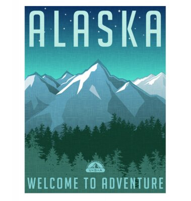 Posters Retro style travel poster series. United States, Alaska mountain landscape.
