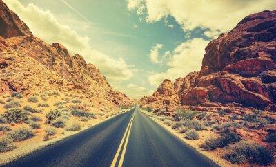 Posters Rétro, stylisé, désert, autoroute, voyage, aventure, concept