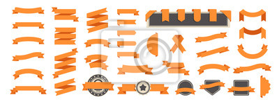 Posters Ribbon banner set isolated on a white background. Orange color. Simple modern cute design. Labels, bookmarks and tags. Flat style vector illustration. Big collection.