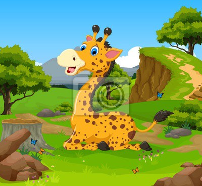 Posters Rigolote Girafe Dessin Animé Jungle Paysage Fond