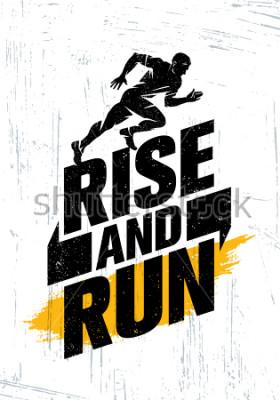 Posters Rise And Run. Concept d'affiche de motivation événementielle sportif marathon. Illustration de mode de vie actif sur fond grunge avec texture