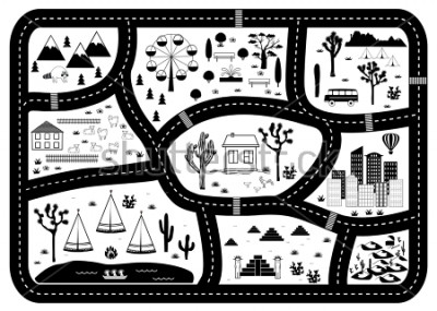 Posters Road, Mountains and Woods Adventure Map. Kids play carpet or poster with native americans tribal elements. Trendy black and white Scandinavian Style. Vector illustration