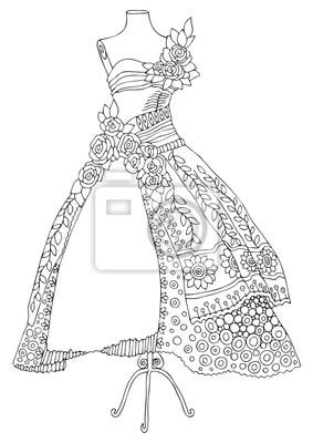 Robe Dessine A La Main Conseils De Mode Croquis Pour Livre Affiches Murales Posters Coloration Chiffon Robe Myloview Fr