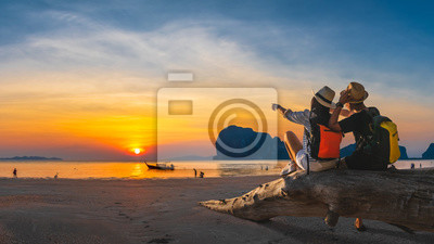 Posters Romantic couple traveler joy look beautiful nature at sunset Pak Meng beach Outdoor lifestyle attraction travel Trang Thailand exotic beach Tourist on summer holiday vacation, Tourism destination Asia