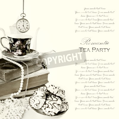 Posters Romantic English 5 o'clock Tea Party Background with vintage pocket watch and sweets