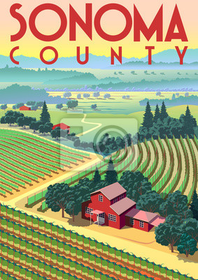 Romantic rural landscape in sunny day in Sonoma County, USA, with vineyards, farms, meadows, fields and trees in the background.