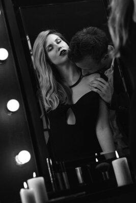 Posters Romantique, passionné, couple, miroir