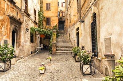 Posters Romantique, ruelle, vieux, partie, roma, italie