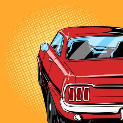 Posters Rouge, voiture, bande dessinée, style, vecteur