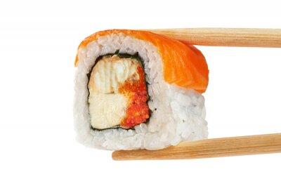 Posters Rouleaux de sushi au saumon, à l'anguille, au caviar et au fromage philadelphia. Ch