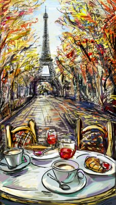 Posters Rue à Paris l'automne. Tour Eiffel -Sketch illustration