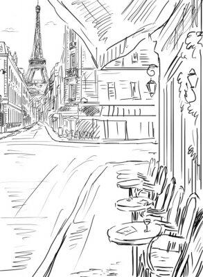Posters Rue de Paris-croquis illustration