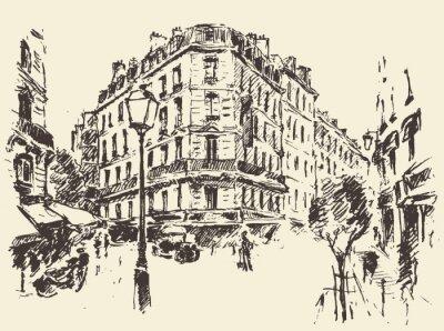 Posters Rue, Paris, vendange, Illustration, dessiné