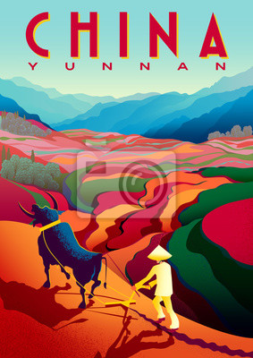 Rural landscape in sunny day in Yunnan Province, China with peasant, bull, flower fields and mountains in the background.