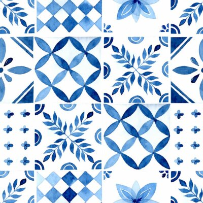 Posters Rustic blue tile watercolor seamless pattern