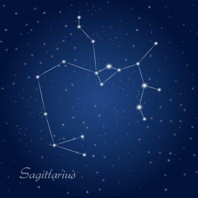 Posters Sagittarius constellation zodiac sign at starry night sky