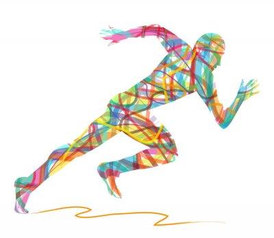Posters sagoma astratta di uomo che corre