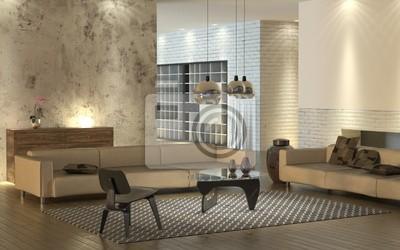 Posters: Salle de séjour moderne avec des canapés en cuir léger et mobilier