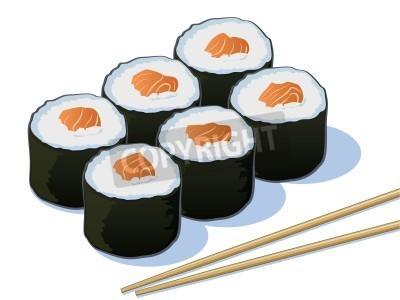 Posters Salmon sushi Rolls avec Sticks Chop