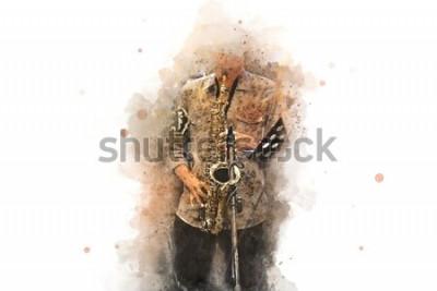 Posters Saxophone abstrait au premier plan. Gros plan, peinture aquarelle jazz jouant du saxophone.