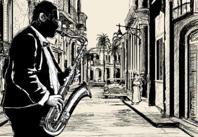Posters saxophoniste dans une rue de Cuba