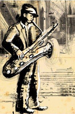 Posters saxophoniste (plein dessin à la main de taille - original)