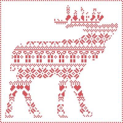 Posters Scandinave, nordique, hiver, couture, tricot, noël, modèle, renne, corps, FORME, inclure, flocons de neige, coeurs, noël, arbres, noël, présents, neige, étoiles, décoratif, ornements