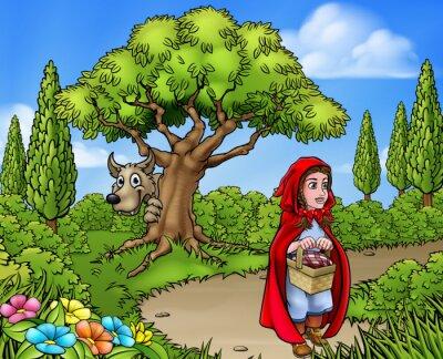 Posters Scène de dessin animé du petit chaperon rouge