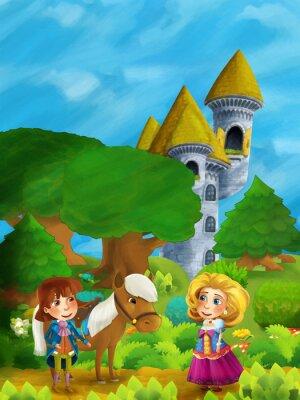 Posters Scène de forêt de dessins animés avec le prince avec son cheval et sa princesse debout et parler sur le chemin près de la tour du château