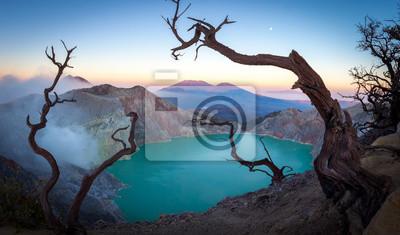 Posters scenic panorama view of volcano mount iljen lake in java indonesia
