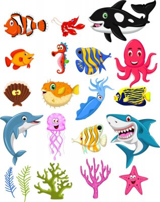 Posters sea life cartoon collection