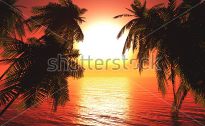 Posters sea sunset among the palm trees, the sun over the water in the palm trees,3D rendering