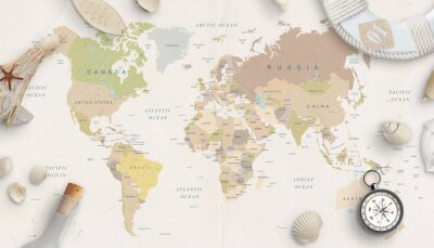 Posters Sea, travel things on world map conposition. Copy space in the middle. Top view, flat lay.