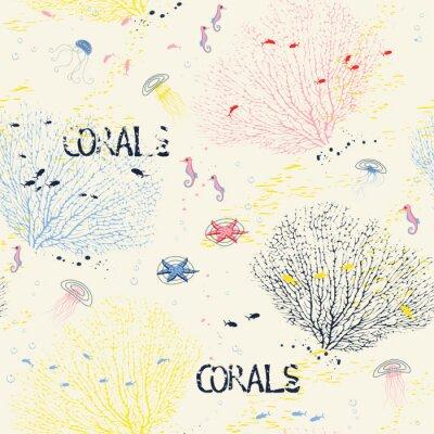 Posters Seamless avec des coraux de ventilateur, méduses, hippocampes et des silhouettes de poissons